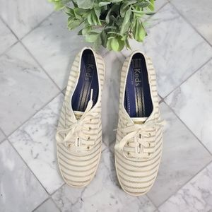 Keds Gold and White Striped Low Rise Sneakers 9